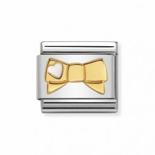 Link Lazo con Corazón Blanco en oro