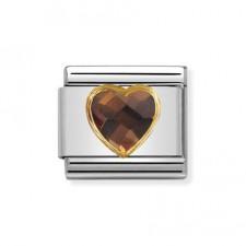 Link Corazón facetado Smokey con circonitas