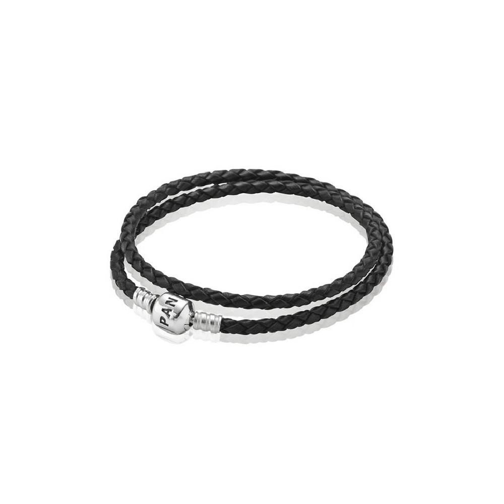 Pulsera negra de cuero trenzado Pandora