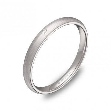Alianza de boda de media caña en oro blanco con diamante