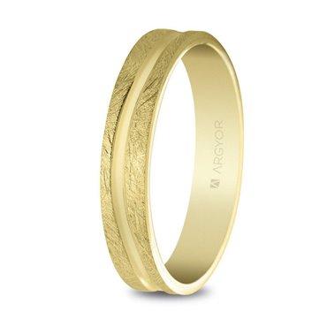 Alianza de boda oro 4mm acabado hielo