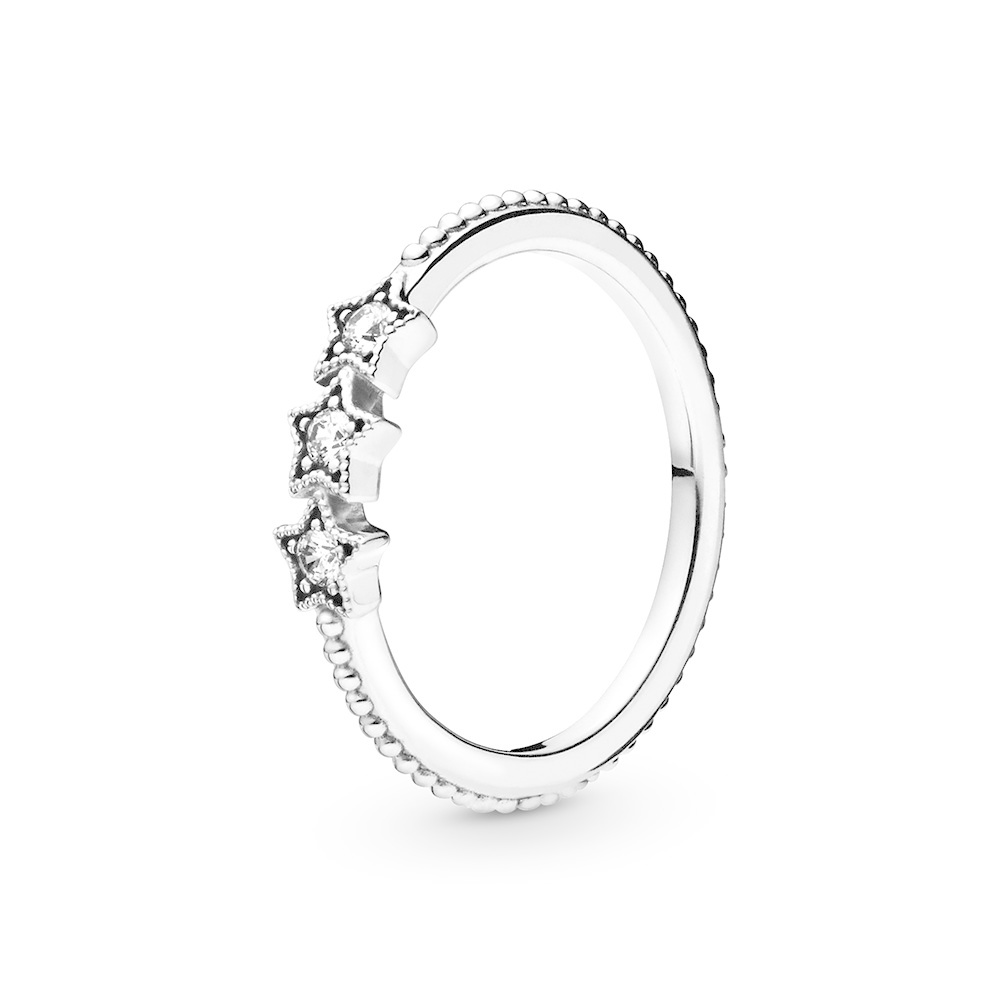 Stars sterling silver ring with clear cu