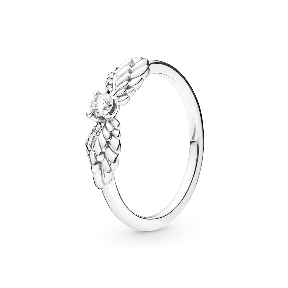 Angel wing sterling silver ring with cle