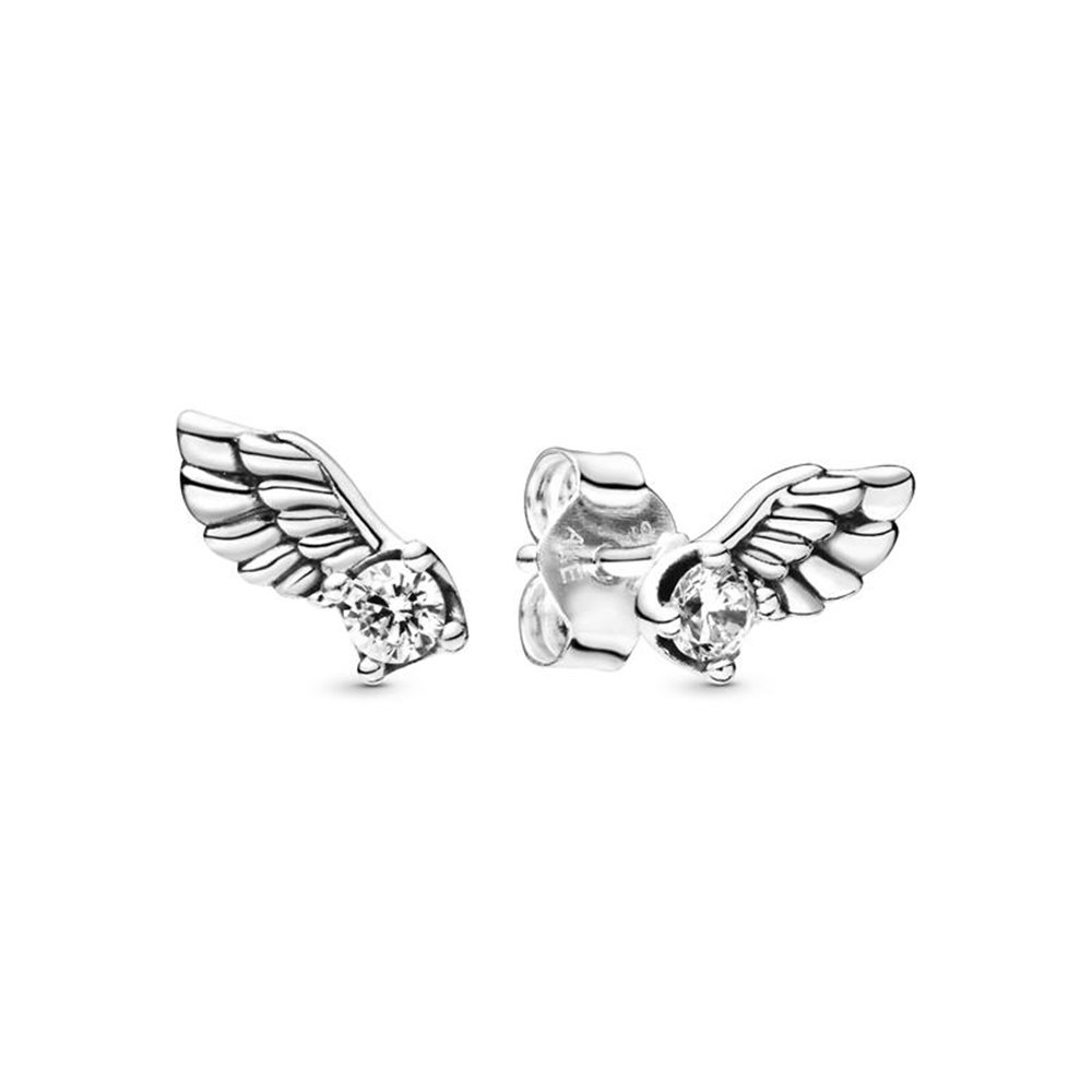 Angel wing sterling silver stud earrings