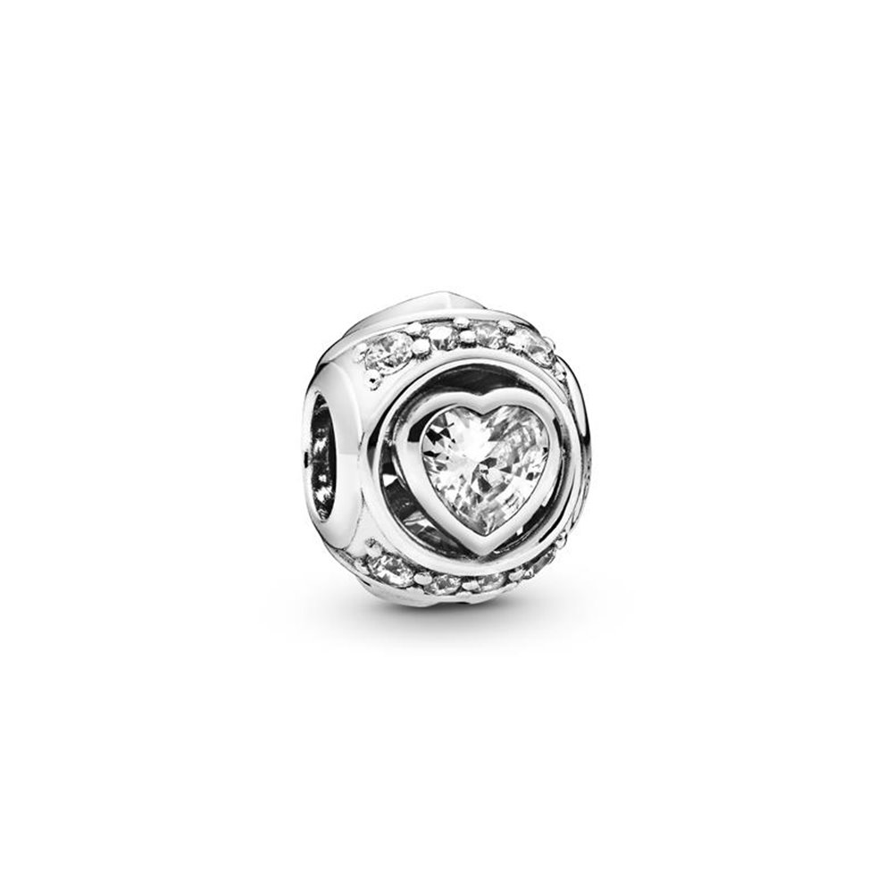 Heart sterling silver charm with clear c