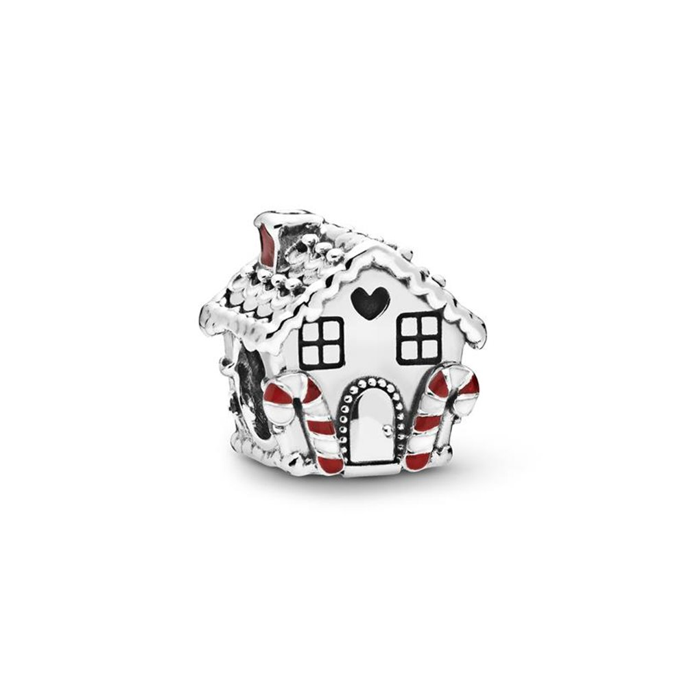 Ginger bread house sterling silver charm