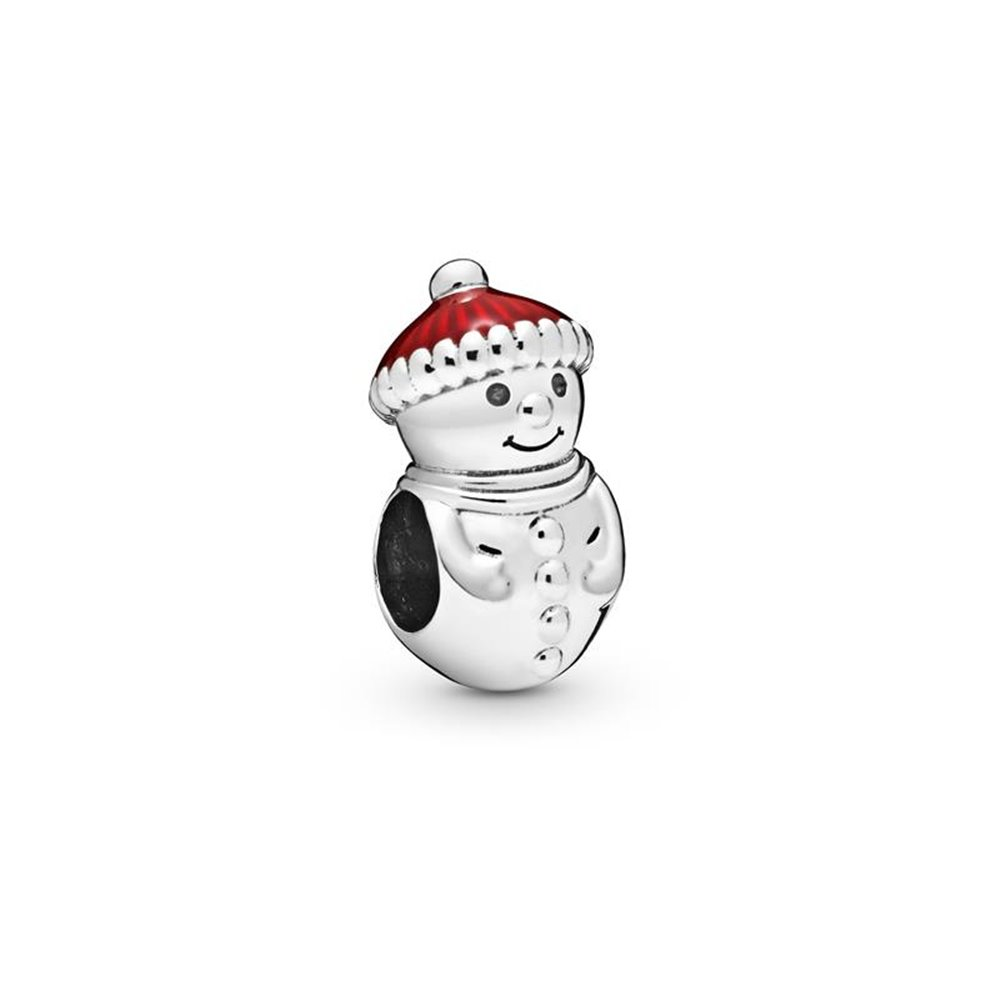 Snowman sterling silver charm with red e