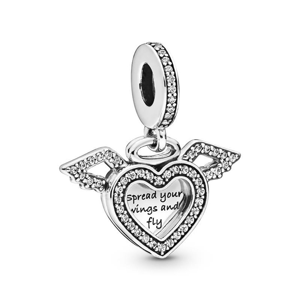 Heart and wings sterling silver dangle w