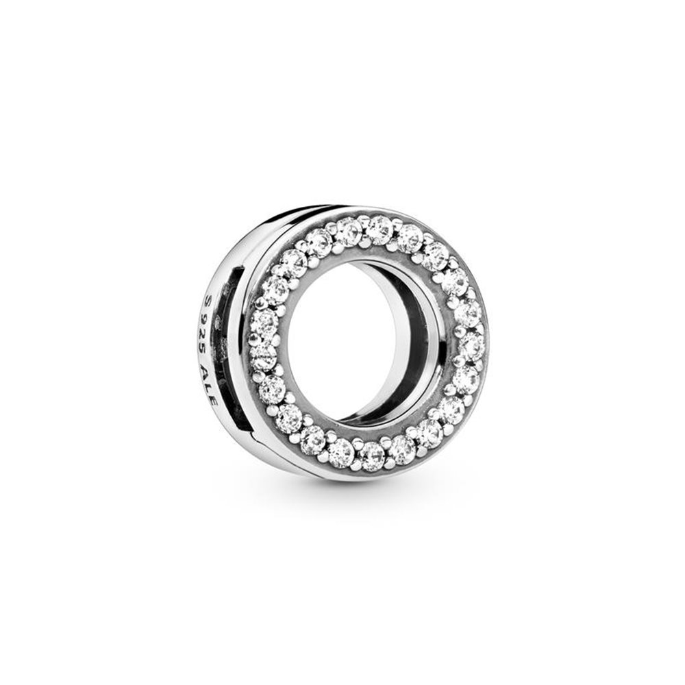 Sterling silver clip with clear cubic zi
