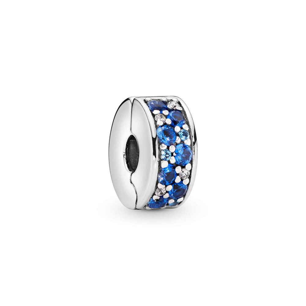 Clip en plata Elegancia Brillante azul
