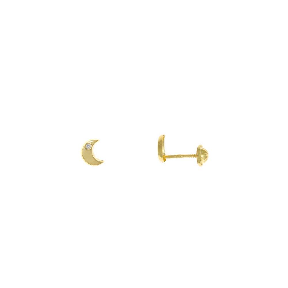 Pendientes Plata Dorado Luna Circonita Blanca
