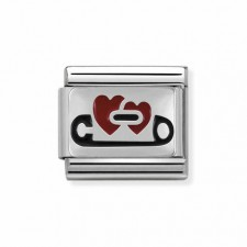 Link Corazon con Imperdible / Broche en plata